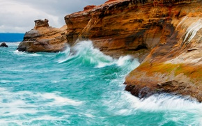 Картинка море, волны, птицы, природа, скалы
