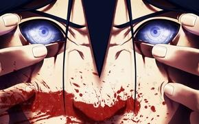 Картинка глаза, лицо, кровь, аниме, арт, наруто, мужчина, naruto, uchiha madara