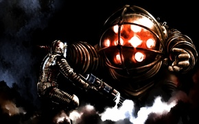 Картинка арт, битва, Dead Space vs Bioshock, достойные соперники, fight, айзек кларк