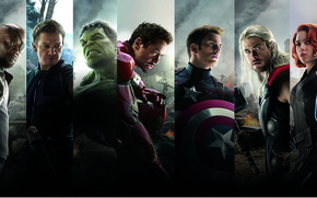 Картинка Scarlett Johansson, Heroes, Hulk, Iron Man, The, Captain America, Team, Thor, Black Widow, Robert Downey ...