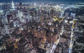 Обои ночь, город, огни, вечер, США, Нью Йорк