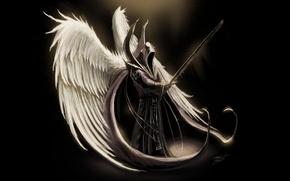 Обои оружие, крылья, ангел, меч