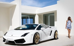 Обои sportcar, Lamborghini, девушка, white