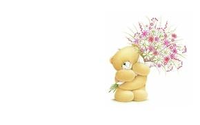 Картинка цветы, настроение, подарок, букет, арт, мишка, детская, Forever Friends Deckchair bear