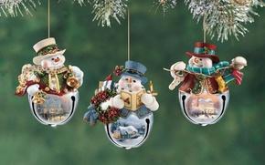 Обои украшения, снеговики, Christmas, фигурки, весёлые, Томас Кинкейд, Thomas Kinkade, Новогодние, decoration, Кинкейда, с картинами, снеговички, ...