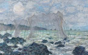 Обои картина, морской пейзаж, Клод Моне, Рыболовные Сети в Пурвиле