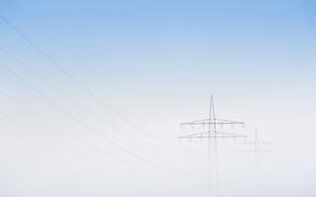 Картинка небо, туман, лэп
