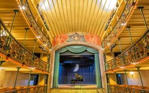 Картинка сцена, рояль, балкон, зал, Бразилия, Минас-Жерайс, Ору-Прету, муниципальный театр