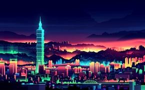 Обои вечер, мегаполис, здание, город