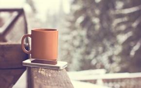 Картинка hot, cup, snow, чашка, смартфон, winter, coffee