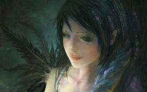 Картинка грусть, девушка, задумчивость, лицо, рисунок, перья, бусы, платок, картина маслом