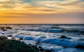 Картинка waves, sky, landscape, coast, nature, sunset, clouds, rocks, Sea