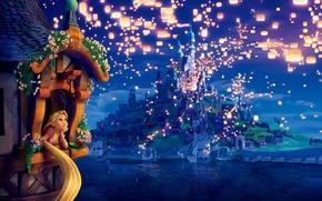 Обои цветы, the movie, принцесса, lights, огоньки, вечер, башня, night, evening, Rapunzel, princess, dreams, Tangled, Запутанная ...