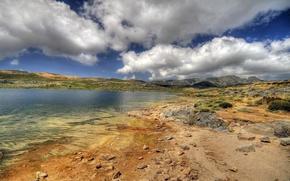 Картинка облака, озеро, камни, берег