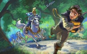 Обои Walt Disney, Флинн, арт, стрелы, дорога, Flynn, рисунок, Рапунцель: Запутанная история, лес, погоня, доспехи, Tangled, ...