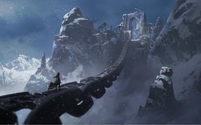 Обои скалы, девушка, фэнтези, арт, холод, снег, мост, оружие