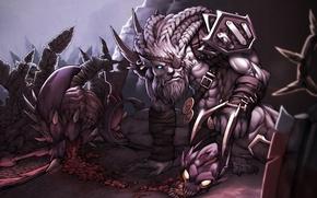 Картинка охота, League of Legends, Rengar, Pridestalker, Cho'Gath, Terror of the Void