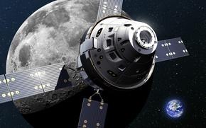 Картинка земля, луна, корабль, космический, Orion, spacecraft