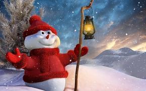 Картинка снеговик, Новый год, праздник, снег, настроение, зима, фонарь