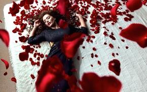 Картинка девушка, розы, лепестки, Daniel Ilinca, Red Roses