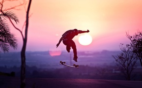 Картинка Skateboard, road, sunset, jump, sun, sports, silhouette, athlete