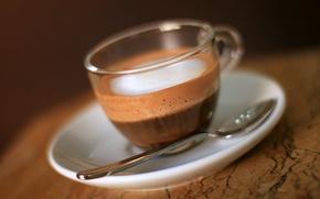 Обои блюдце, чашка, аромат, кофе, ложка, пена, coffee