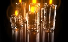 Обои свечи, отражение, огонь