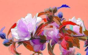 Картинка цветы, рендеринг, рисунок, вектор, ветка, лепестки