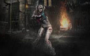Картинка девушка, фон, дождь, волосы, удар, бейсбольная бита, косы