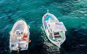 Картинка sea, ocean, water, two, day, liquid, boats, motorboats