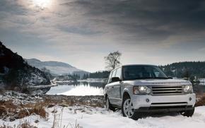 Обои зима, снег, озеро, land rover