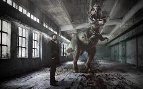 Картинка человек, динозавр, зал