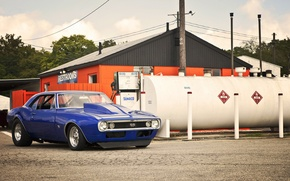 Картинка синий, Chevrolet, шевроле, мускул кар, camaro, blue, front, камаро, драгстер