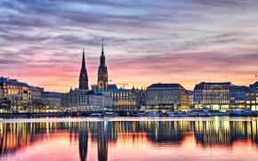 Картинка закат, огни, река, дома, вечер, Германия, набережная, Гамбург