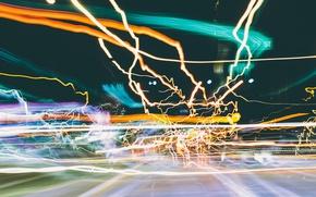 Картинка свет, город, огни, блики, движение