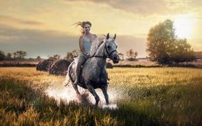 Картинка девушка, природа, конь