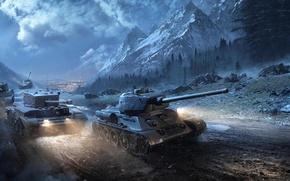 Картинка Облака, Горы, Туман, Город, Деревья, Снег, Свет, Техника, World of Tanks, Мир Танков, Sherman, Т-34-85, …
