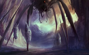 Картинка монстр, паутина, паук, арт, гигантский, пленники, cloudminedesign, жертвы