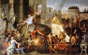 Картинка Париж, масло, картина, Лувр, холст, Лебрен Шарль, французский художник и декоратор, Триумфальный въезд Александра Великого …