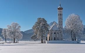 Обои зима, деревья, горы, Германия, Бавария, Альпы, церковь, Germany, Bavaria, Alps, Schwangau, Швангау, Sankt Coloman, Церковь ...