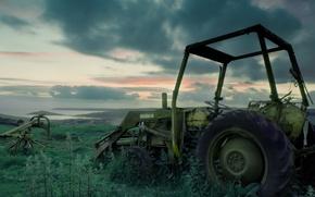 Обои трава, трактор, заброшенный, сломанный