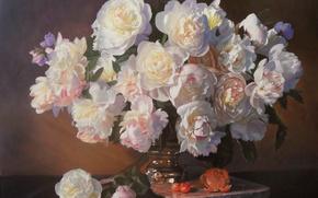 Картинка цветы, апельсин, букет, картина, ваза, фрукты, натюрморт, черешня, пионы, Zbigniew Kopania
