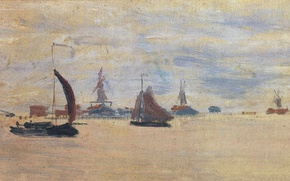 Картинка лодка, картина, парус, морской пейзаж, Клод Моне, View of the Voorzaan