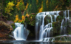 Картинка осень, лес, водопад, каскад, Washington, штат Вашингтон, Lower Lewis River Falls, река Льюис, Lewis River