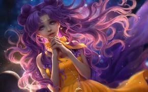 Картинка небо, девушка, месяц, аниме, арт, цепочка, luna, Bishoujo Senshi Sailor Moon, sunmomo