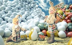 Обои дети, девочки, краска, яйца, пасха, кролики
