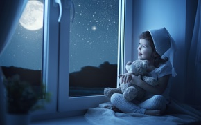 Картинка Луна, Дети, Окно, Медведь, Девочка, Игрушки