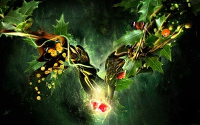 Картинка бабочки, вишня, коллаж, Листья