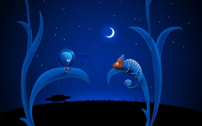 Обои луна, Синий, хамелеон, НЛО, инопланетянин