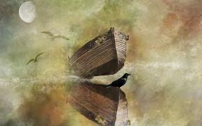 Картинка стиль, птица, луна, лодка